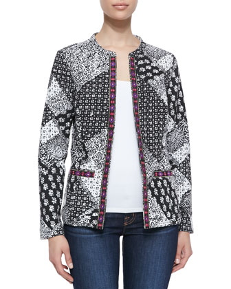 Paisley & Boho-Print Jacket with Contrast Trim
