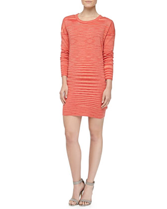 Space-dye Long-Sleeve Cashmere Dress, Coral