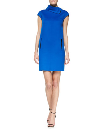 Double-Face Funnel-Neck Shift Dress