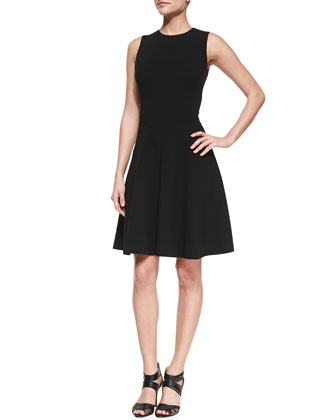 A-line Crepe Flirt Dress, Black