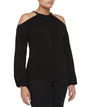 Long-Sleeve Cutout Crepe Halter Top, Black