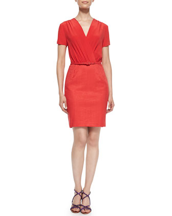 Silk & Herringbone Sheath Dress