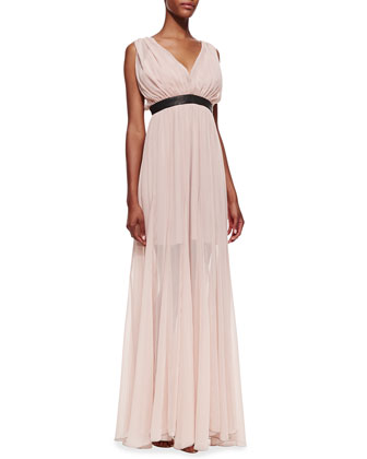 Kendrick Leather-Waist Chiffon Gown