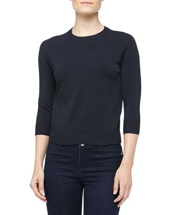 Crewneck Crepe Raglan Sweater, Midnight
