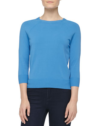 Crewneck Crepe Raglan Sweater, Sea