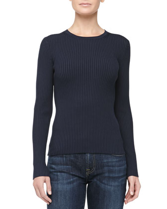 Fitted Crewneck Rib-Knit Sweater, Midnight