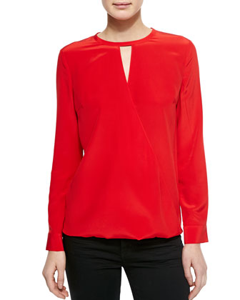 Short-Sleeve Drape-Front Blouse