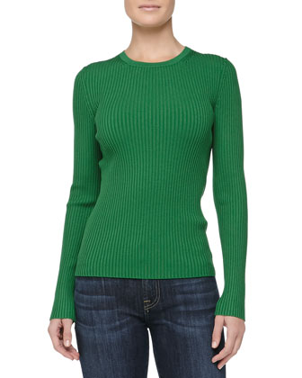 Fitted Crewneck Rib-Knit Sweater, Palm