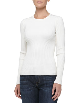 Fitted Crewneck Rib-Knit Sweater, White
