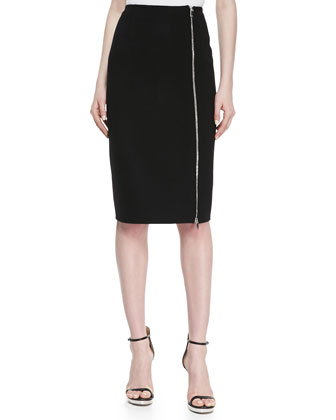 DF WOOL ZIP PENCIL SKIRT