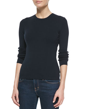 Cotton Long-Sleeve Crewneck Sweater, Midnight