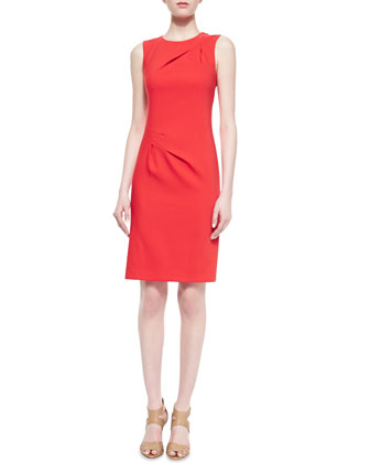 Stretch Crepe Origami Sheath Dress