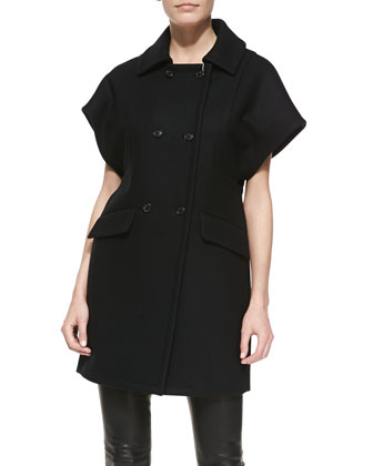 Short-Sleeve Double-Breasted Coat, Black