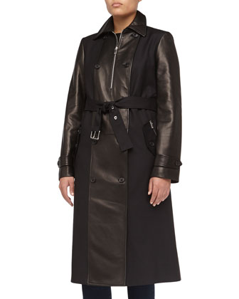Faux-Leather Contrast Sateen Trench Coat, Black