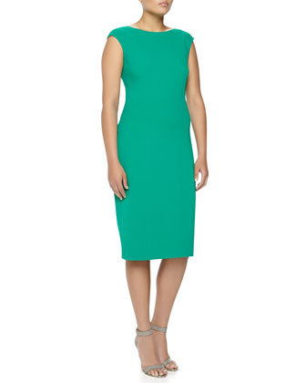 Boat-Neck Stretch Wool Sheath Dress, Emerald, Women's