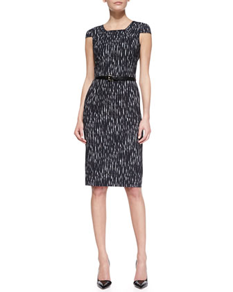 Printed Crepe Cap-Sleeve Sheath, Black-White