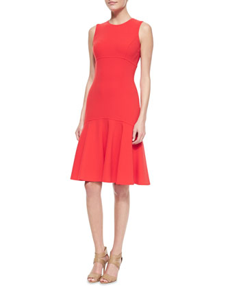Stretch-Crepe Flare Sheath Dress, Coral