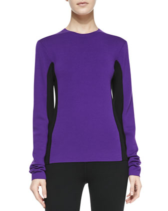 Two-Tone Wool Sweater, Grape