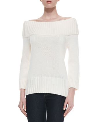 Rib-Trim Wool Sweater, Ivory