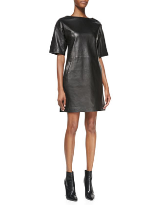 Calfskin Leather Shift Dress