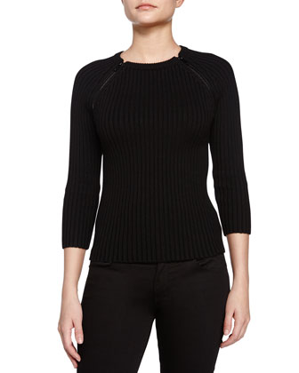 Short-Sleeve Sweater, Black