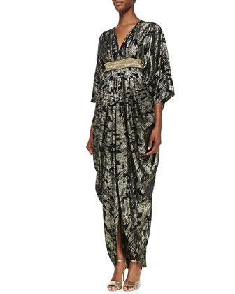 Ikat Metallic Caftan, Black/Gold