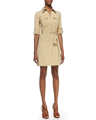 Belted Zip Poplin Shirtdress, Sandstone