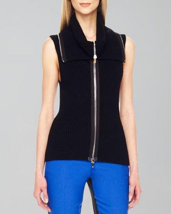 Front-Zip Knit Vest