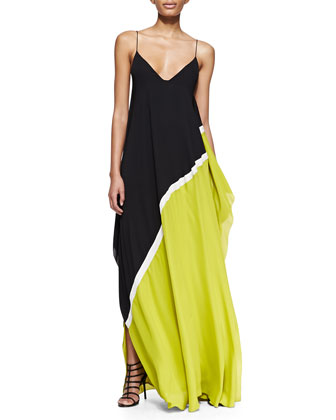 Georgette Colorblock Sleeveless Gown