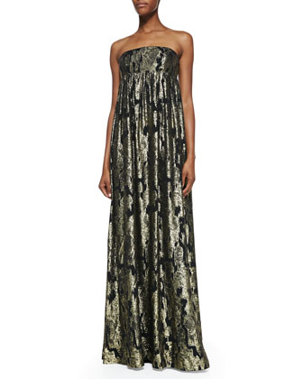 Metallic Ikat Strapless Gown