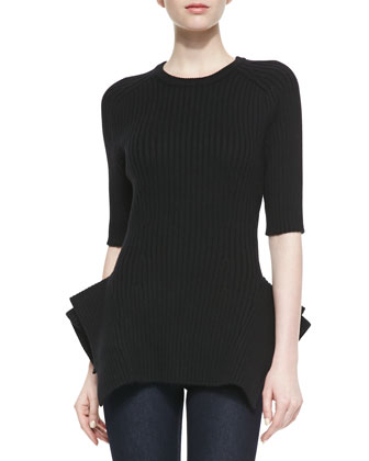 Ribbed-Knit Peplum Sweater, Black