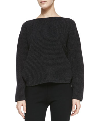 Long-Sleeve Ribbed Cashmere Top