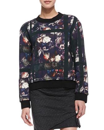 Floral & Plaid Sweatshirt & Pinstripe Draped Wrap Skirt