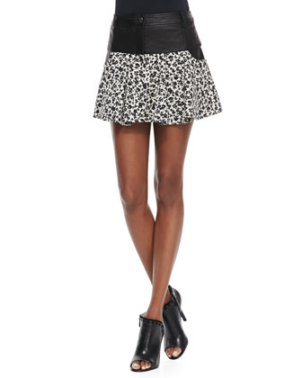Asymmetric Georgette-Back Pullover & Leather/Floral-Print Tulip Skirt