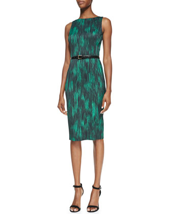 Printed Belted Sheath Dress, Emerald