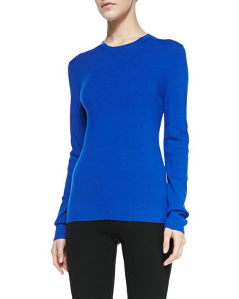 Ribbed Long-Sleeve Top, Royal