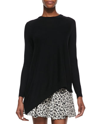 Asymmetric Pullover with Georgette Back, Black