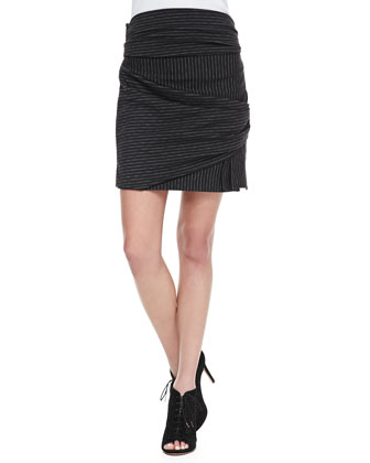 Pinstripe Draped Wrap Skirt