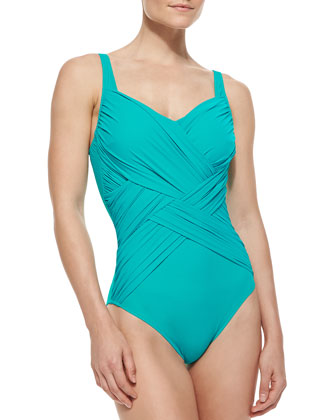 Lattice-Wrapped One-Piece Swimsuit