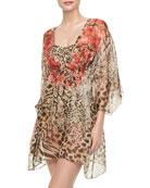 Maculato Silk Leopard-Print Coverup Beach Dress