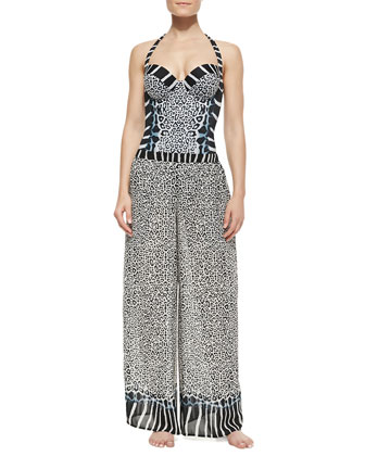 Savannah Underwire Halter One-Piece & Mixed-Print Coverup Pants