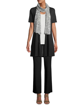 Long Polished Linen-Blend Rib Cardigan, Silk Cami & Silk-Cotton Straight ...