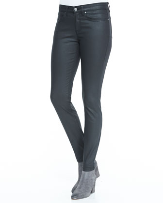 Waxed Stretch Skinny Jeans, Black, Petite