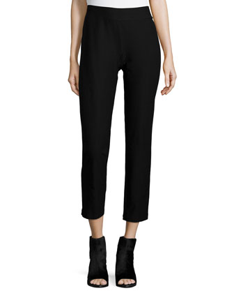 Washable Stretch-Crepe Ankle Pants, Black, Petite