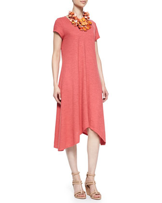 Short-Sleeve Handkerchief Jersey Dress, Petite