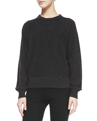 Long-Sleeve Cashmere Pullover Sweater, Charcoal