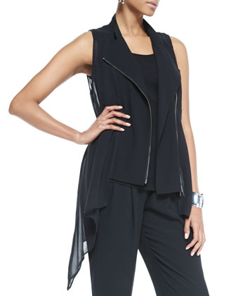 Crepe & Sheer Silk Vest, Long Slim Camisole, Slouchy Silk Ankle Pants ...