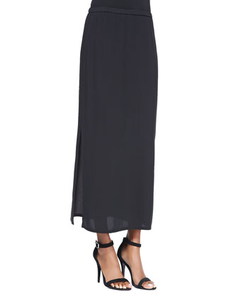 Long Straight Skirt with Side Slit