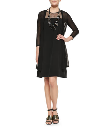 Gossamer Crepe Open Cardigan & Silk Georgette Lace-Yoke A-line Dress