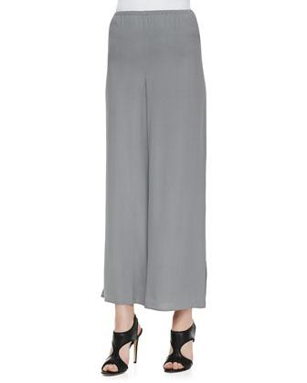 Polished Silk Habutai Top & Silk Georgette Wide-Leg Pants, Women's